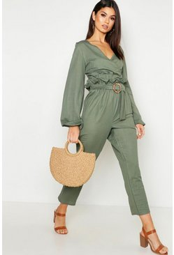 Womens Khaki Linen Look Belted Tapered Pants