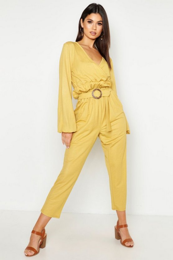Womens Mustard Linen Look Belted Tapered Pants