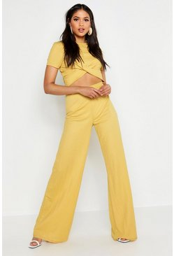 Mustard Tall Linen Look Wide Leg Pants