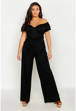 Womens Black Plus Linen Look Paper Bag Wide Leg Trouser