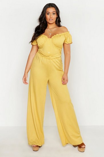 Womens Mustard Plus Linen Look Paper Bag Wide Leg Trouser