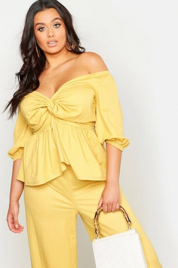 Womens Mustard Plus Linen Look Off The Shoulder Top