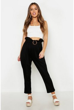 Womens Black Petite Linen Look Belted Tapered Trouser