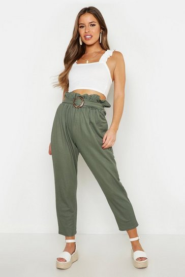 Womens Khaki Petite Linen Look Belted Tapered Trouser