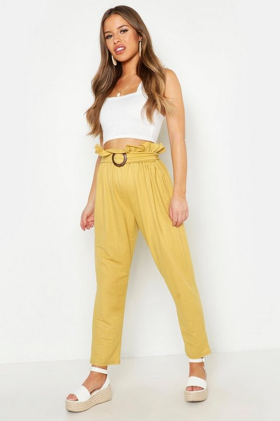 Mustard Petite Linen Look Belted Tapered Pants