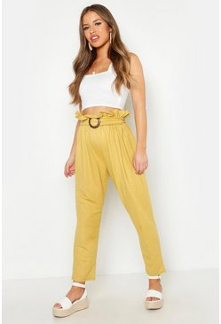 Womens Mustard Petite Linen Look Belted Tapered Pants