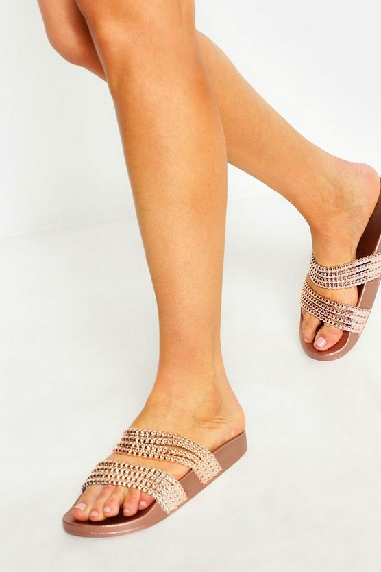 Womens Rose gold Bead Strap Sliders