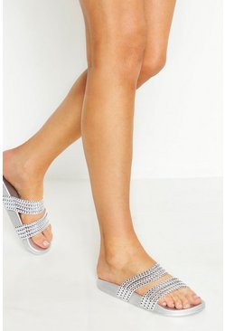 Womens Silver Bead Strap Sliders
