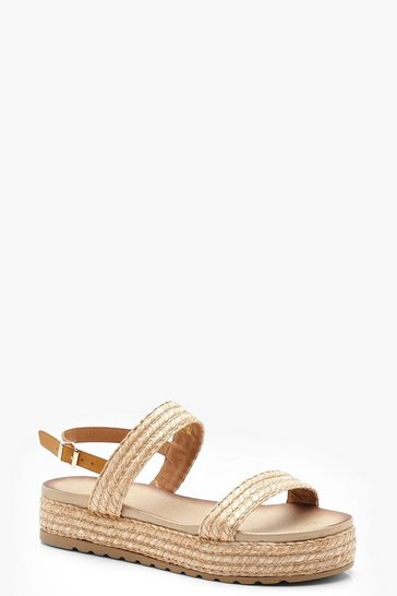 Womens Natural Raffia Flatform Sandals