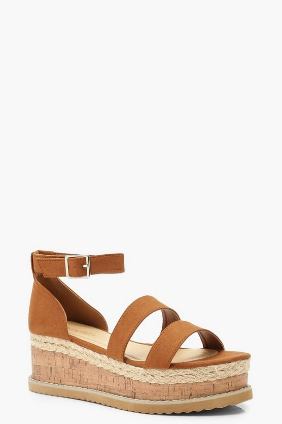 Womens Tan Double Strap Flatforms