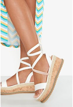 Womens White Wrap Strap Espadrille Flatforms