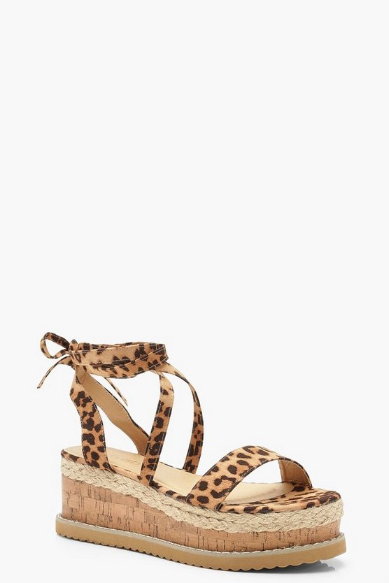 Wrap Strap Leopard Espadrille Flatforms