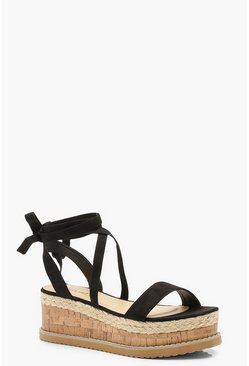 Womens Black Flatform Espadrille Tie Up Sandals