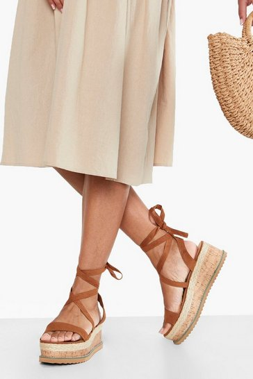 Womens Tan Flatform Espadrille Tie Up Sandals