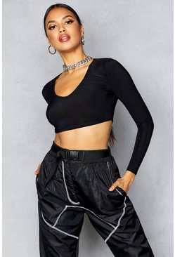 Womens Black Long Sleeve Slinky Crop Top