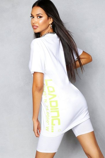 Womens Ivory Oversized Slogan T-Shirt