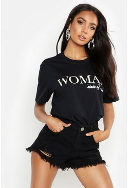 "T-shirt con scitta ""Woman State Of Mind"", Nero, Femmina"