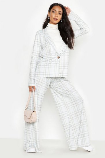 Womens Grey Check Print Extreme Wide Leg Trouser