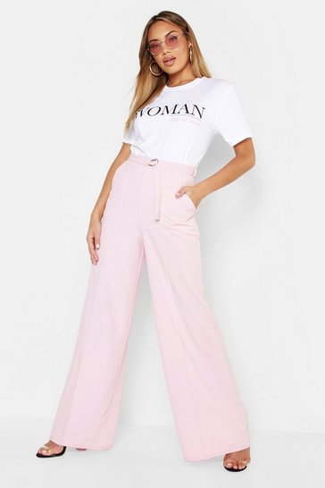 Womens Baby pink Belted High Waist Wide Leg Trouser