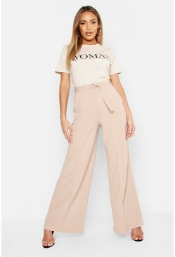 Womens Stone Belted High Waist Wide Leg Trouser