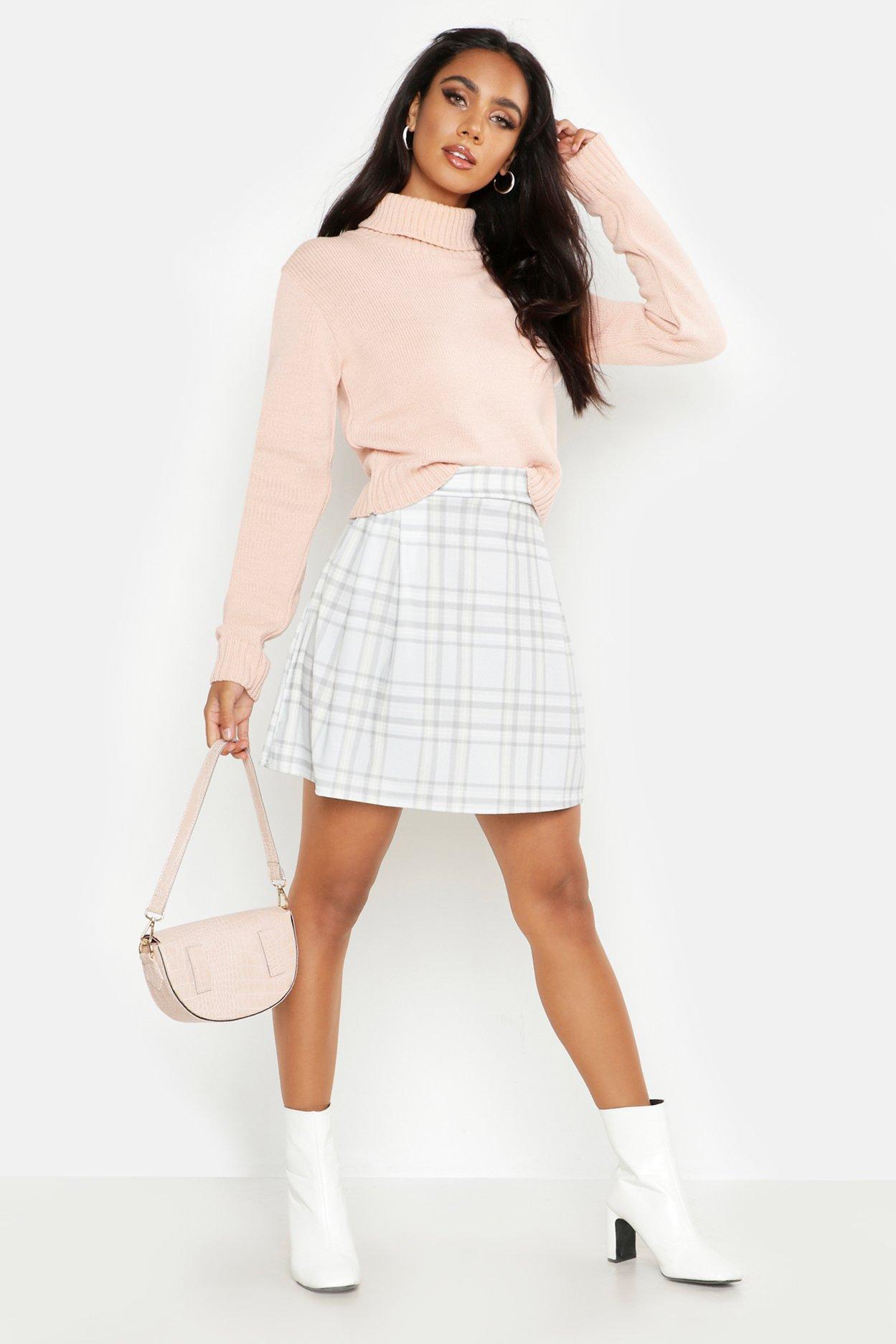 Check Print Pleat Side Mini Skirt