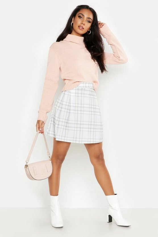 Womens Grey Check Print Pleat Side Mini Skirt