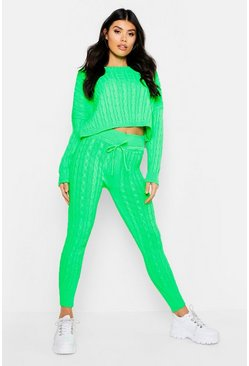 Womens Neon-green Neon Cable Knit Loungewear Set