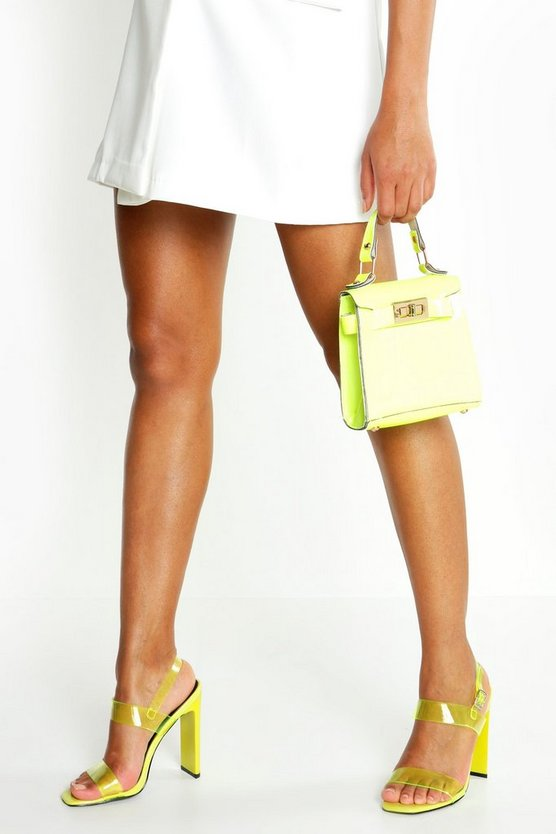 Womens Lime Clear Double Strap Heels