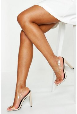 Womens Nude Clear Double Strap Heels