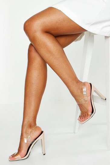 Nude Clear Double Strap Heels