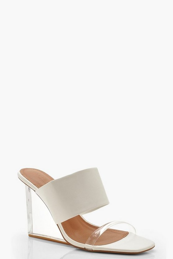 Womens White Clear Wedge Mules