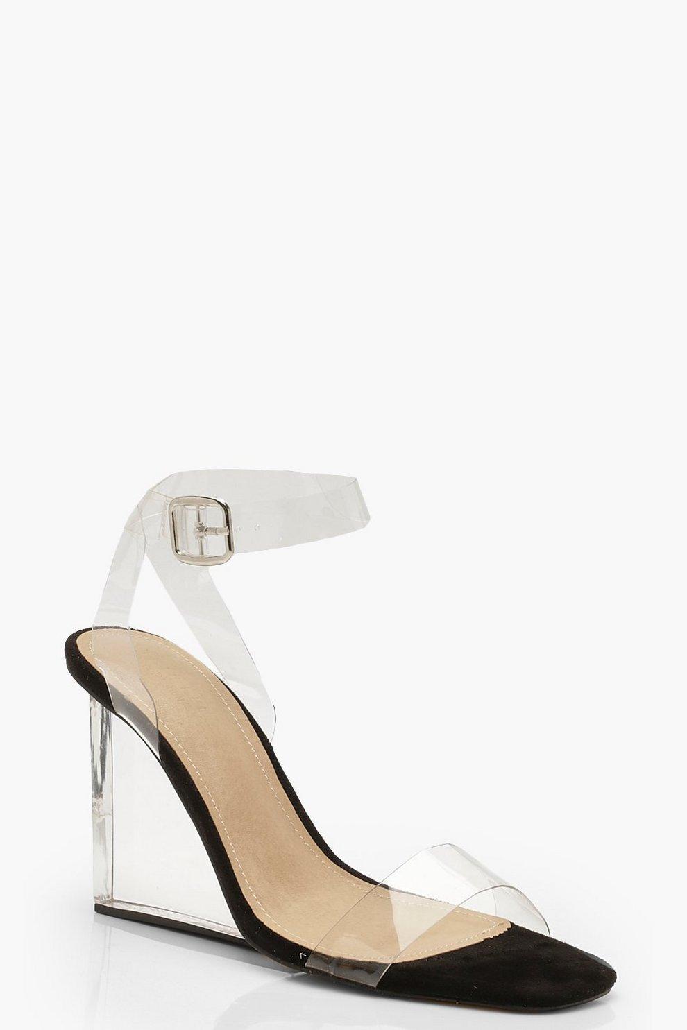 nouvelle collection divers styles premier coup d'oeil Chaussures compensées transparentes en 2 parties