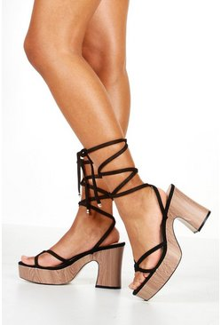Womens Black Knot Wrap Strap Platforms