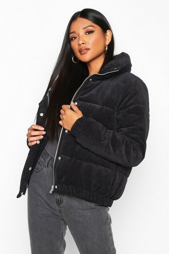 Black Cord Panelled Puffer Jacket