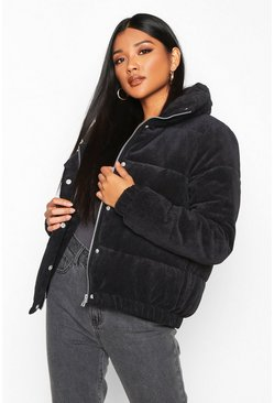 Womens Black Cord Panelled Puffer Jacket