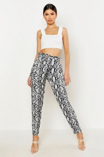 Womens Grey Snake Print Tapered Trouser