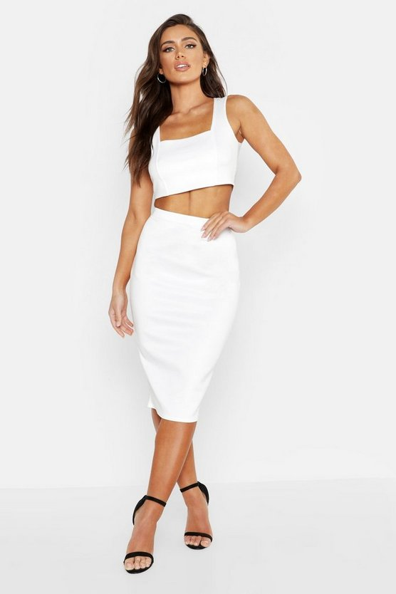 Womens Ivory Square Neck Top & Midi Skirt