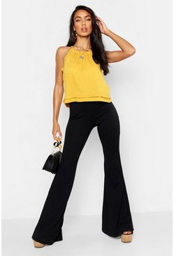 Womens Mustard Ruffle Detail Crinkle Top