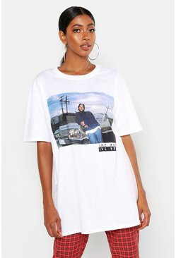 Womens White Ice Cube Oversized License T-Shirt