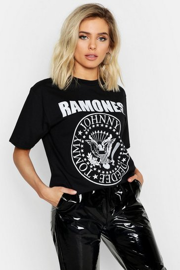 Womens Black The Ramones Licence T-Shirt