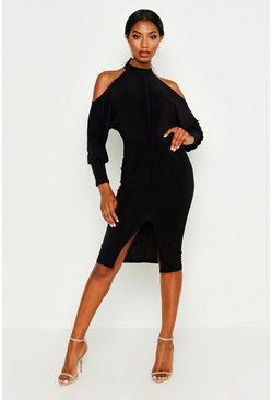 Black Slinky Cold Shoulder Knot Front Dress