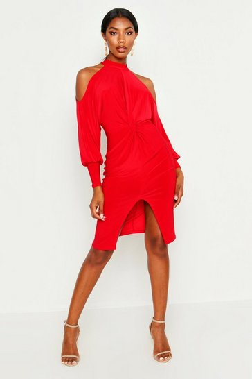 Womens Red Slinky Cold Shoulder Knot Front Dress