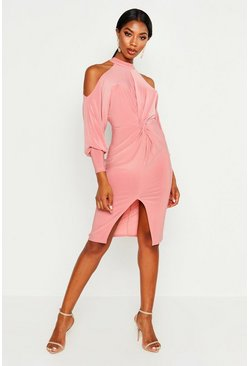Rose Slinky Cold Shoulder Knot Front Dress
