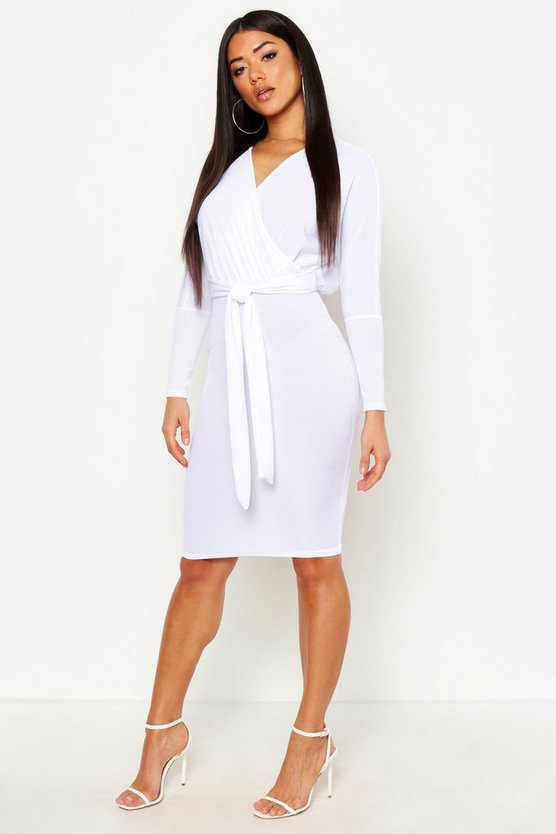 White Off The Shoulder Rib Belted Midi Dress