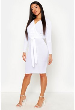 Womens White Off The Shoulder Rib Belted Midi Dress