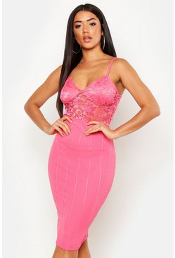 Womens Neon-coral Boutique Lace Top Bandage Skirt Bodycon Midi Dress