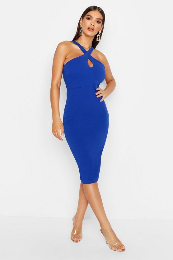 Womens Cobalt Twist Front Crepe Midi Dress