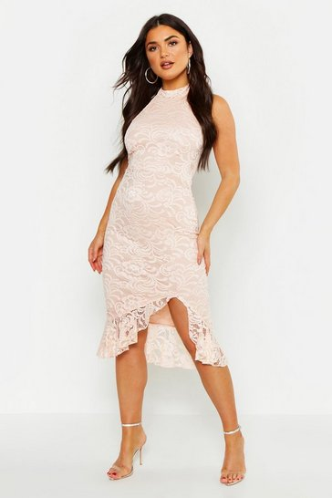 Womens Blush Lace Halter Neck Frill Hem Bodycon Midi Dress