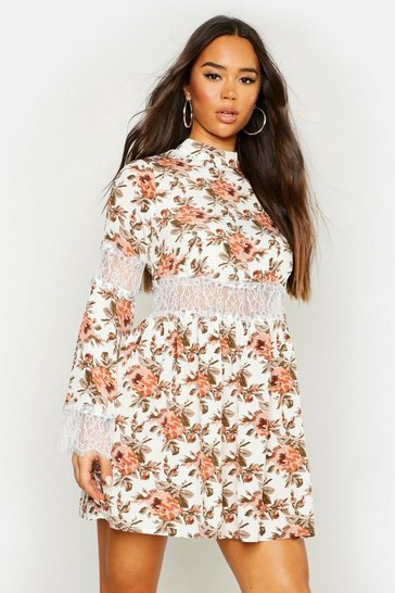 Womens White Floral Lace Insert Skater Dress