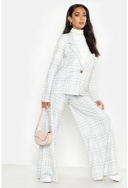 Womens Grey Check Print Button Blazer